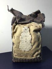 cute! SNOWMAN sachet potpourri bag decorative country style rustic navy & tan