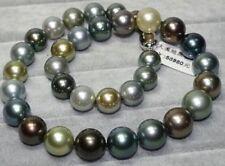 "18""11-12mm genuine natural tahitian black multicolor pearl necklace 14k"