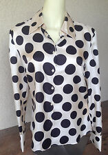 Inc Silk Shirt Cream Blouse Large Dark Brown Circles Polka Dot Long Sleeve 10 XX
