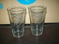 SET OF 2 VINTAGE ETCHED BUDWEISER with TIGER PINT GLASSES