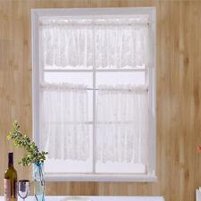 Elegent Embroidered Flower Bathroom Window Voile Sheer Valance Cafe Curtains