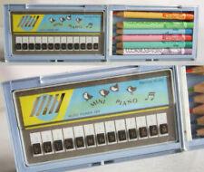 RARE VINTAGE 80'S ECHO MINI PIANO MUSICAL PENCIL CASE MELODY TAIWAN BLUE NEW !
