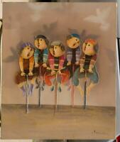 Style of G Rodo Boulanger Tour De France Whimsical Kids Bicycle Painting g50