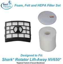 Foam, Felt HEPA Filter for Shark NV650 Rotator Lift-Away Vacuum XFF650 & XHF650