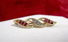 14K YELLOW GOLD RUBY AND DIAMONDS VINTAGE PIN BROOCH 2 GRAMS