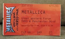 Metallica Concert Ticket Stub 2004 Great Western Forum - Madly In Anger