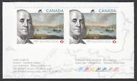 BENJAMIN FRANKLIN = 250 POSTAL HISTORY = BKL pair w/colour marks MNH Canada 2013