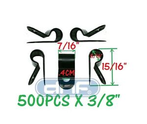"""500 PACK 3/8"""" BLACK NYLON R-TYPE CABLE CLAMP UV WEATHER RESISTANT - SHIPS TODAY!"""