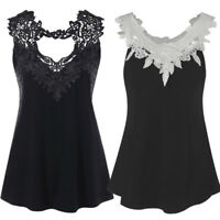 Womens Sleeveless Cotton Lace Blouse Vest Ladies Summer Casual Tank Tops T Shirt