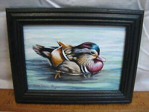 Chris Scheidler Pagano Framed Painting Mandarin Duck Decorative Wildlife Art