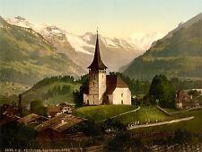 VINTAGE PHOTOGRAPH TRAVEL FRUTIGEN CHURCH ALPS SWITZERLAND POSTER LV4789
