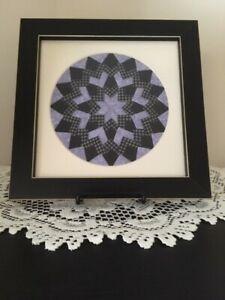 Handmade Quilt Picture, Lavender/Black/Gray, Black Frame, New