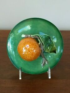 Antique Majolica Trompe L'oeil Mandarin Orange Bowl with Lid Portugal (B)