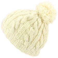 Beanie Hat Cap Bobble White Fleck Warm Winter Lined LoudElephant Acrylic Knit