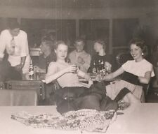 Vintage Photograph Pretty Girls Drinking At Party 1950s