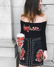 LF stores black ribbed rose floral Floral embroidered  bodysuit NWT sz L