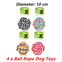 4 x COLOURFUL JUMBO NATURAL COTTON ROPE BALL DOG TOY NON-TOXIC PET DENTAL A
