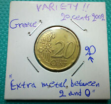 VARIETY! 20 Eurocent 2002 Greece! Extra metal between 2 and 0! Rare Coin!