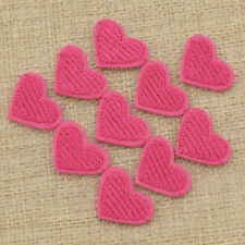 10pcs Pink Heart Embroidered Iron On Sewing On Patches Appliques Accessory