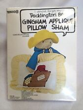 NEW Trio 3 Eden Paddington Bear Gingham Applique Pillow Sham Kit Vtg 1978