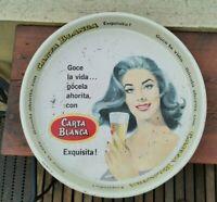 VTG 1960s MEXICAN CARTA BLANCA BEER TIN TRAY PIN UP LADY LORENA VELAZQUEZ ARTIST