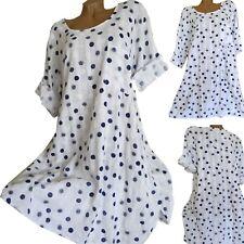 ITALY Sommerkleid Lagenlook Blumen Kleid A-Linie Weiß Blau Grau 38 40 42 Neu