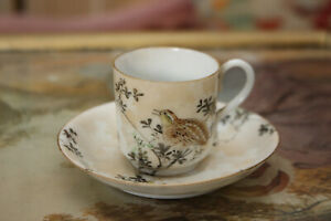 A Pretty Little Japanese Cup and Saucer, Hand Painted & Signed