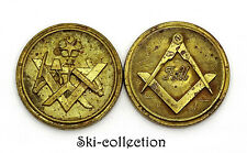 2 Boutons des Francs-maçons. France, XIX°-XX°s. 24 mm