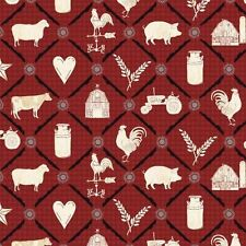 Farm To Table By Windham Fabrics  -  Red Animal Grid