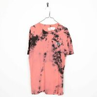 Vintage HUF Small Logo Dyed Print T Shirt Tee Pink | Large L
