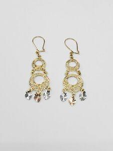 10K Gold Filigree Chandelier Earrings (2 Rounds)
