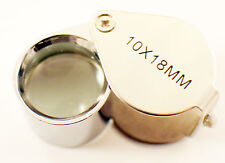 10X Jewelers Loupe Magnifier Chrome Plated 18mm  glass lens