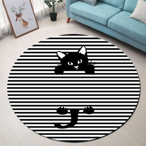 Pop Art Cat Black & White Striped Round Floor Mat Bedroom Living Room Area Rugs