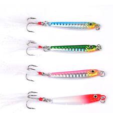 5PCS Fishing Slow Jig Jigging Lure Jigbait spoon baits Feather hook 12g/5.5cm