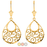 Solid Gold or 925 Sterling Silver Teardrop Filigree Spiral Leverback Earrings