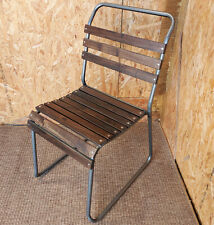 SLATTED STACKING CHAIRS VINTAGE BLUE METAL RESTAURANT CHAIR SCHOOL CHAIRS Antiques Antique Furniture