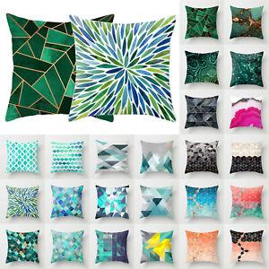 Home Cyan-Blue Geometric Waist Pillow Case Throw Cushion Cover Sofa Bed Decor