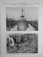 Salving Of H.M. Cruiser Gladiator: Portsmouth: 1908 Engineering Magazine Print