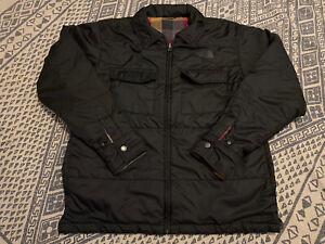 Mens THE NORTH FACE Jacket Reversible Black Plaid Size Medium