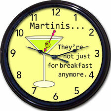 Martini Lover's Wall Clock Breakfast Cocktails Gin Olives Liquor New 10""