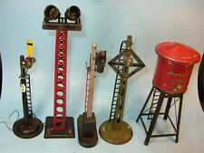 LOT of 5 Lionel & American Flyer TIN TRACKSIDE PIECES..H2O Tower, Spotlight, Sig
