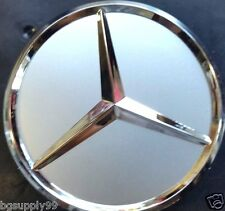 4 pcs, Wheel Center, Hub Caps, Mercedes Benz, Silver Matte, 75 mm, Fit: C, S, CL
