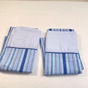 mainstays pillowcase blue standard pair modern classic blue striped cotton blend