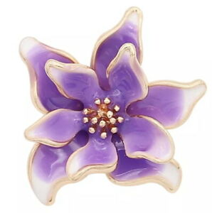 Gold Plated Purple Enamel Flower 20mm Snap Charm Button For Ginger Snaps