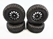 New Losi Tenacity SCT Complete Set of 4 Black 12mm Wheels & Maxxis Razr MT Tires
