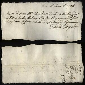 1756 INVERNESS Receipt David Taylor to Alex Rose, Factor to Laird of COLLODEN