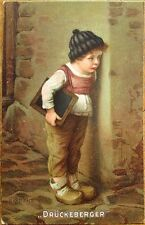 H. Kaulbach/Artist-Signed 1910 Color Litho Postcard of Boy - 'Druckeberger'