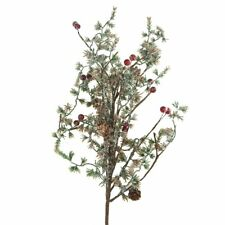 Artificial Snow Cedar Branch with Berries Christmas Ornament, Green, 13-Inch