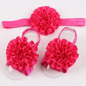 Newborn Baby Girl Kids Infant Headband Foot Flower Elastic Hair Band 3 Pcs/Set 8
