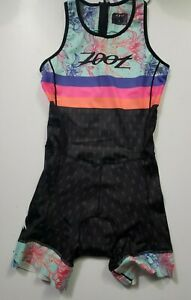 ZOOT Womens Large Tri Suit Custom Back Zip Racesuit Floral Sleeveless Rear Zip L